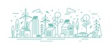 Fototapeta Miasto - Modern environmentally friendly city with ecological infrastructure, electrical car charger, solar panel and windmill. Monochrome vector line art illustration of eco cityscape with alternative energy