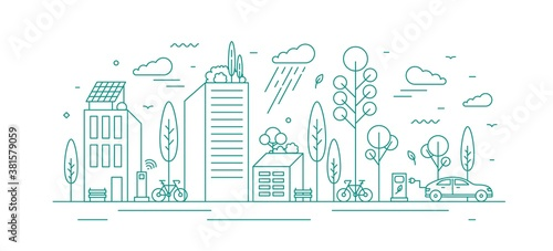 Modern city with ecological infrastructure and vehicles, roof greening, solar panels and electrical car charger. Green vector line art monochrome illustration of eco cityscape with alternative energy