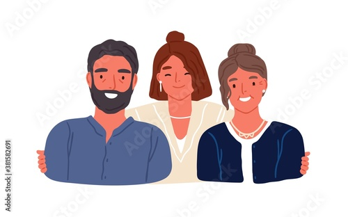 Portrait of adult daughter and aged parents vector flat illustration Tableau sur Toile