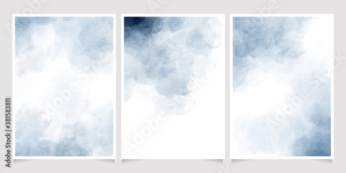 indigo watercolor wet wash splash 5x7 invitation card background template collection