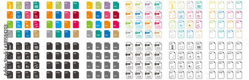 Fotomural set of file icons isolated vector