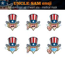 Uncle Sam Emoji - Furious - Index Finger Up - I Want You - Surgical Mask
