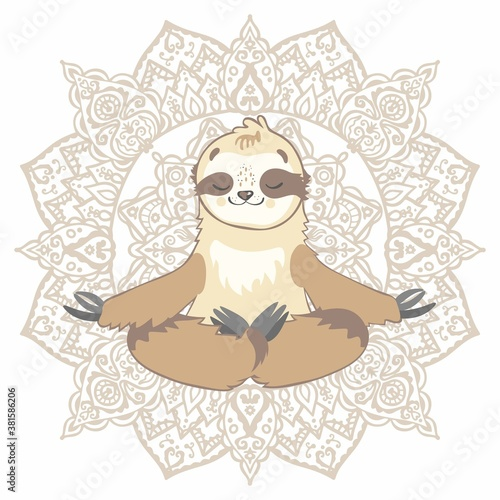 Naklejka premium Vector illustration of a sloth bear in the lotus position on the background of the mandala. Yoga, meditation, relaxation. Isolated on white background.