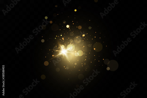 Obraz Glow light effect. Vector sparkles on a transparent background. Christmas light effect. Sparkling magical dust particles.The dust sparks and golden stars shine with special light. - fototapety do salonu
