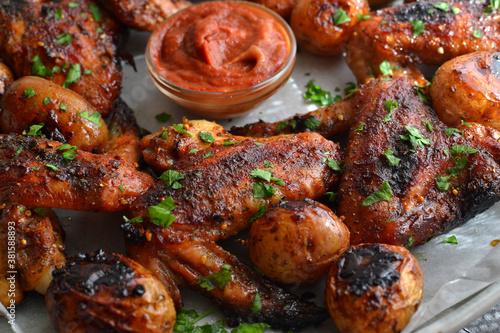 Fotografie, Obraz Chicken wings baked in soy-honey sauce