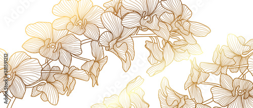 luxury gold floral line art wallpaper vector. Exotic botanical background, Orchid flower golden line design for textiles, wall art, fabric, wedding invitation, cover design Vector illustration.