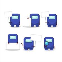 Among Us Blue Cartoon Character Bring Information Board