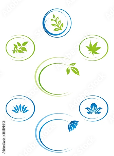 colourful nature icons, Eco friendly business logo design