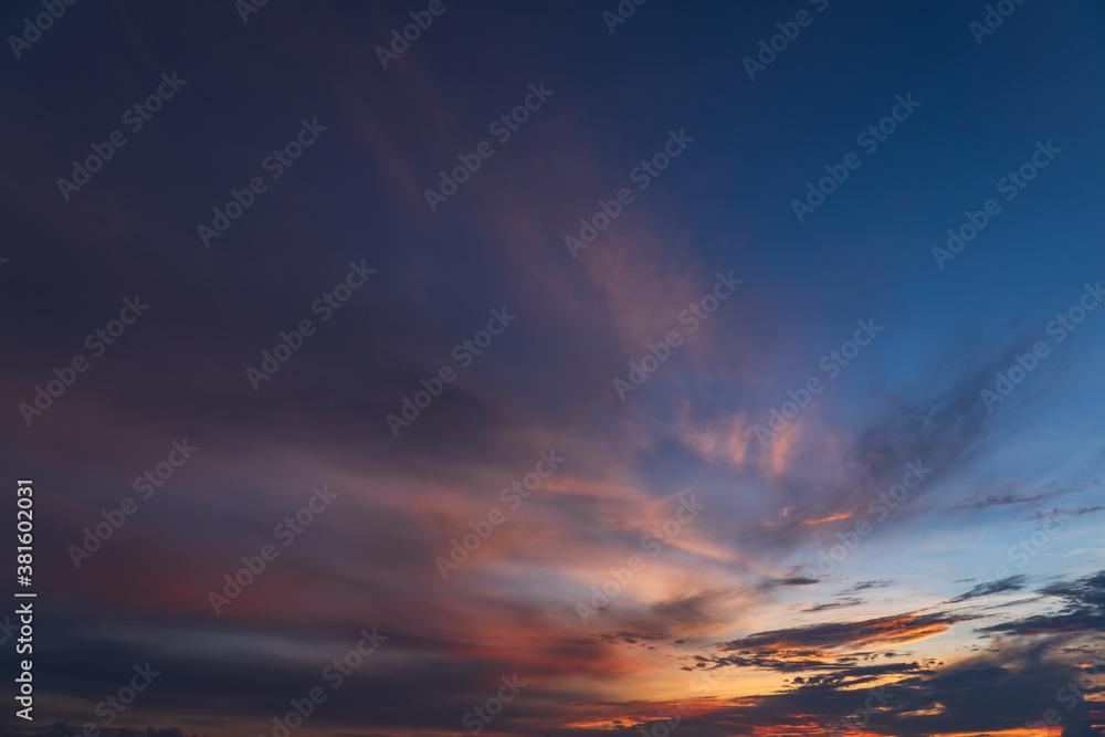 Fototapeta sunset in the sky on twilight in the evening, Dusk sky.