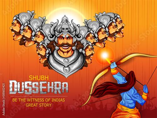 Fotografie, Tablou illustration of Lord Rama killing Ravana in Dussehra festival of India