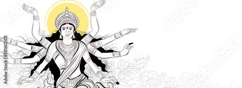 Fotografia, Obraz illustration of Goddess Durga beautiful Face in Happy Navratri and Durga Puja,