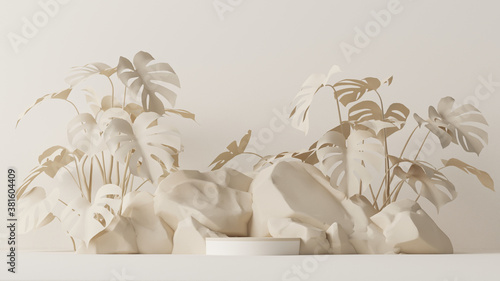 Minimal scene with stone and rock,  podium, tropical palms, monster leaves and abstract background. Pastel cream and beige colors scene. Trendy 3d render for social media banners, promotion, product.