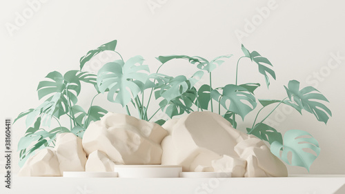 Minimal scene with stone and rock,  podium, tropical palms, monster leaves and abstract background. Pastel green and beige colors scene. Trendy 3d render for social media banners, promotion, product.