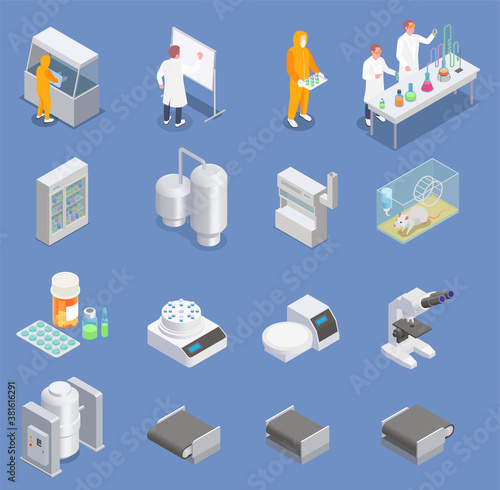 Fotografía Pharmaceutical Production Icons Collection
