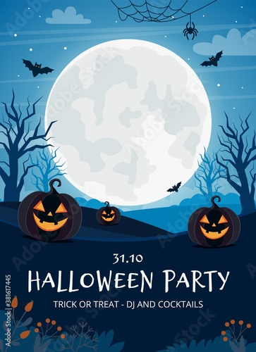 Halloween party flyer template with full moon and pumpkins