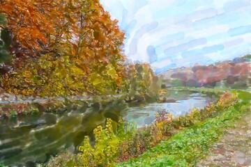 Panel Szklany Rzeki i Jeziora Watercolor illustration of Isar river nature in autumn time. Germany