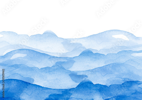 Fototapeta Watercolor line of blue paint, splash, smear, blot, abstraction. Used for a variety of design and decoration. Strokes of paint, lines, splash. Horizontal line,background. Blue sea, Hill, fog mountain obraz