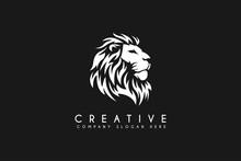 Lion Head Logo Design Vector Illustration Isolated On Black Background