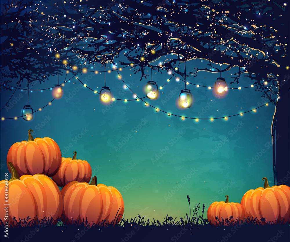 Fototapeta Autumn poster with holiday lights and pumpkins for thanksgiving day, halloween party or festival.