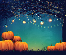 Autumn Poster With Holiday Lights And Pumpkins For Thanksgiving Day, Halloween Party Or Festival.