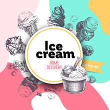 Circular Frame For Ice Cream Label, Rounded By Traditional Cookies And Confection, Retro Hand Drawn Vector Illustration.
