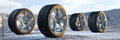 Reifen wechseln im Winter mit Winterreifen im Schnee