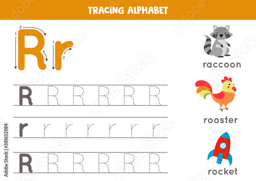 Tracing alphabet letter R with cute cartoon pictures. Canvas Print