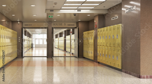 Tableau sur Toile Long school corridor with yellow lockers , 3d illustration