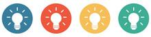 Bunter Banner Mit 4 Buttons: Glühbirne, Kreativität, Lösung