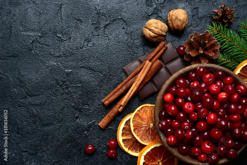 Papel de parede Christmas culinary background with winter spices and ingredients for baking