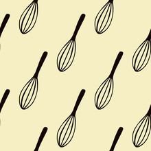 Black Corolla Silhouettes Seamless Doodle Pattern. Kitchen Mixing Equipments On Light Yellow Background.