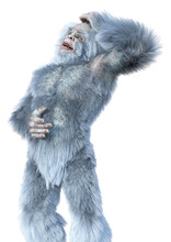3D Rendering Yeti On White