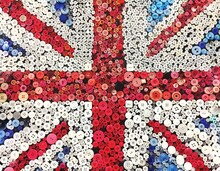 Full Frame Shot Of British Flag Made From Buttons
