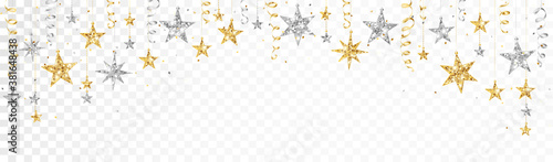 Fototapeta Holiday decoration, glitter border with stars. Festive vector background isolated on white. Gold and silver garland, frame. For Christmas and New Year banners, headers, birthday cards. obraz
