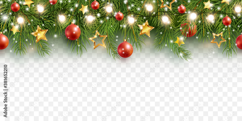 Fototapeta Border with green fir branches, stars, lights isolated on transparent background. Pine, xmas evergreen plants seamless banner. Vector Christmas tree garland decoration border