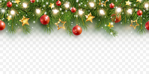 Border with green fir branches, stars, lights isolated on transparent background. Pine, xmas evergreen plants seamless banner. Vector Christmas tree garland decoration border
