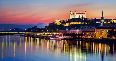 Bratislava castle over Danube river and Bratislava old town, Slovakia