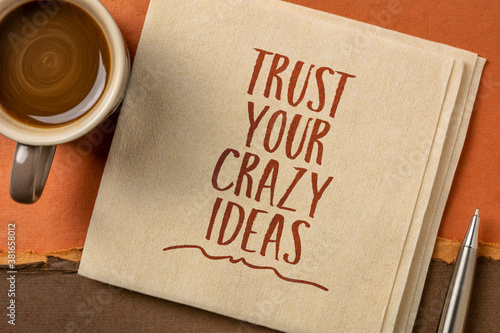 trust your crazy ideas inspirational note - handwriting on a napkin with coffee, Canvas-taulu