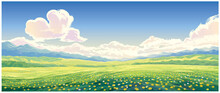 Summer Rural Landscape With Bl...
