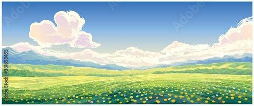 Fototapeta Summer rural landscape with blooming glade with dandelions in the foreground. obraz