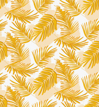 Yellow Seamless Palm Pattern, ...