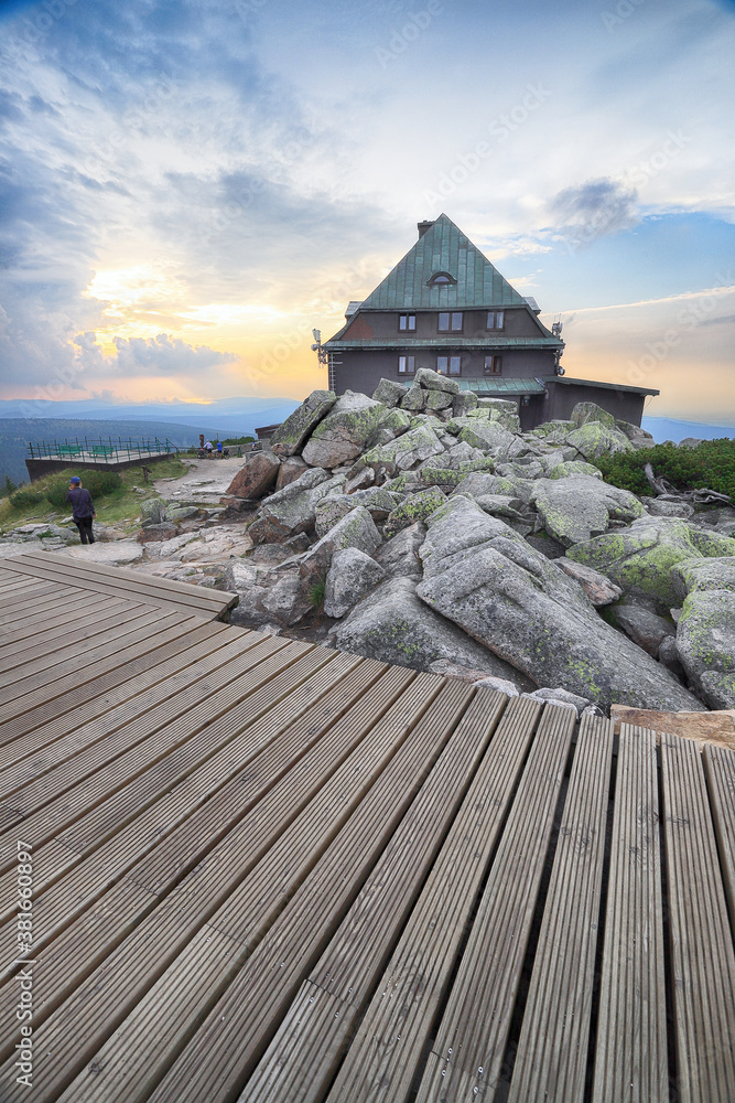 Szrenica mountain shelter (1362 m above sea level) during sunset, Szklarska Poreba, Poland, Europe.