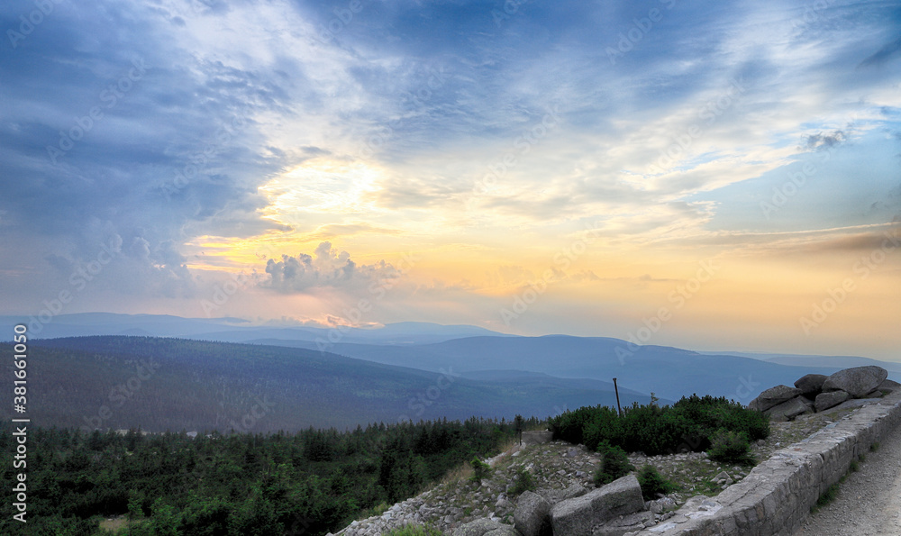 Sunset over the Giant Mountains. View from observation deck in the Szrenica mountain shelter (1362 m above sea level), Szklarska Poreba, Poland, Europe.