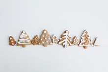 Tasty Minimalist Homemade Gingerbread Christmas Tree Cookies With Icing