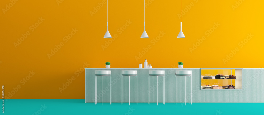 Fototapeta Interior coffee bar design.Minimal concept with blue and yellow color.3d rendering