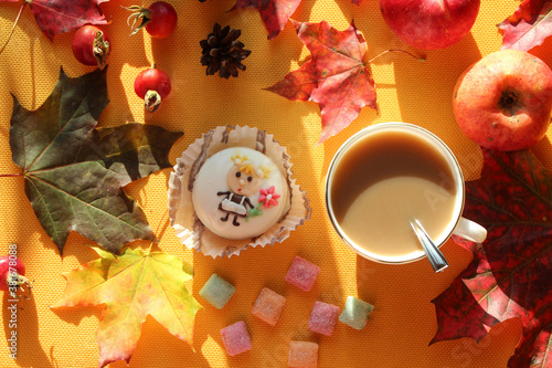 Apples, nuts, foliage, rose hips with a Cup of cocoa and cake in the sun and shadows from objects, top view