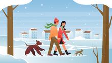People Walk In Winter Vector I...