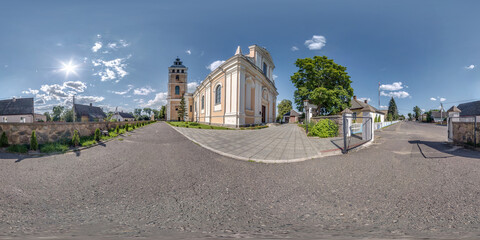 Full seamless spherical hdri panorama 360 degrees angle near facade of decorative medieval style architecture baroque church in equirectangular spherical projection with zenith and nadir. vr content