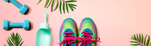 Fitness Shoes And Dumbbells Wi...