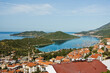 Panorama of city and bay with surrounding landscape at morning, Kas, Turkey